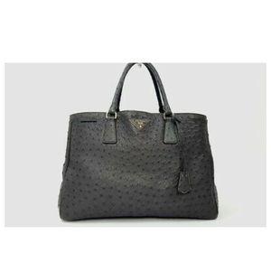 Prada Ostrich Dark Gray Struzzo Executive Tote Bag
